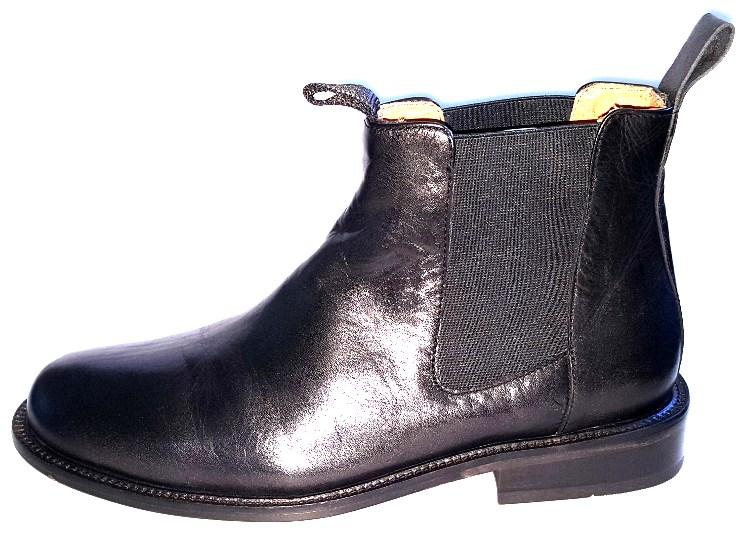 Elastikstøvlet - sort, lædersål for/gummi bag
